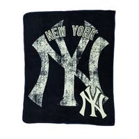MLB New York Yankees Micro Raschel Plush Throw Blanket 46 x 60 inch - Blue