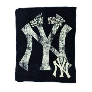 MLB New York Yankees Micro Raschel Plush Throw Blanket 46 x 60 inch - Blue