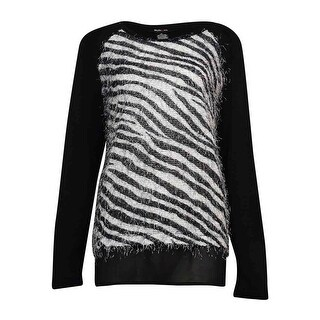 Style & Co Women's Eyelash Knit Chiffon Trim Sweater - Zebra Print