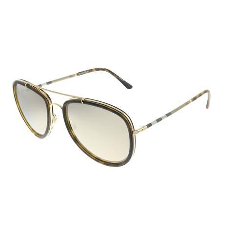 Burberry BE 3090Q 10525A Unisex Brushed Gold Matte Havana Frame Dark Gold Mirror Lens Sunglasses