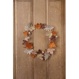 "15"" Gold and Silver Glitter Elegant Fall Leaf Thanksgiving Wreath"