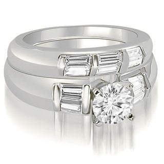1.45 CT.TW Round And Baguette Cut Diamond Bridal Set - White H-I