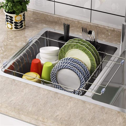 Dish Drying Rack, Expandable Over The Sink Dish Drainer