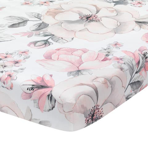 Lambs & Ivy Signature Botanical Baby Watercolor Floral Cotton Crib Sheet- White