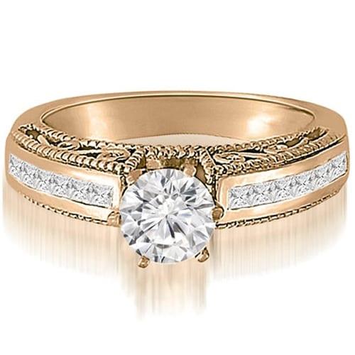 1.10 cttw. 14K Rose Gold Antique Milgrain Round Cut Diamond Engagement Ring