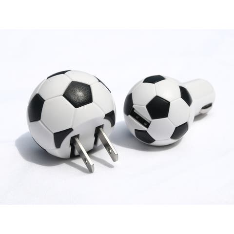 Soccer USB Charger Set of 2 for Smartphones and USB Compatible Devices