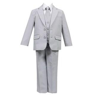 Little Boys Light Gray 5 Pcs Shirt Vest Jacket Tie Pants Suit (2 options available)