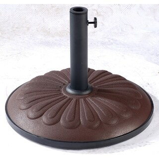 International Caravan 23900AP-25-CH Resin Sunflower Umbrella Stand, Chocolate