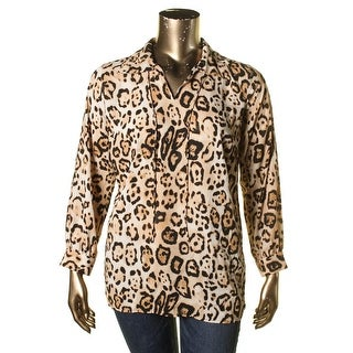 Vince Camuto Womens Plus Pullover Top Split Collar Animal Print