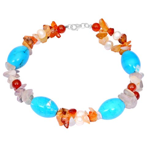 Carnelian, Pearl, Turquoise, Agate Sterling Silver Beaded Bracelet by Orchid Jewelry