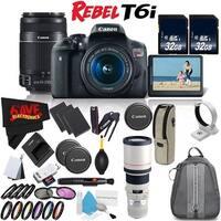 Canon Rebel T6i DSLR Camera w/ 18-55mm Lens International Version (No Warranty) + Canon EF 400mm f/5.6L USM Lens Bundle