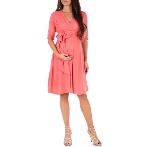 Women's Knee Length Wrap Dress with Belt