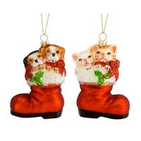 Club Pack of 12 Red and White Cat\dog in Santa Boot Christmas Hanging Ornament 6""
