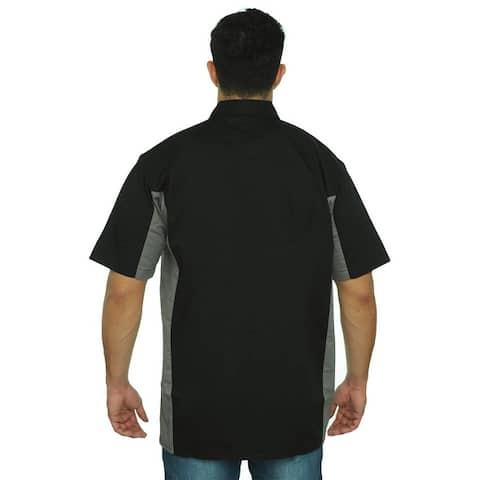 Men's Basic Mechanic Work Shirt Button-Down 2 Front Pockets Casual Top 2 Tone M-XL,2XL-5XL