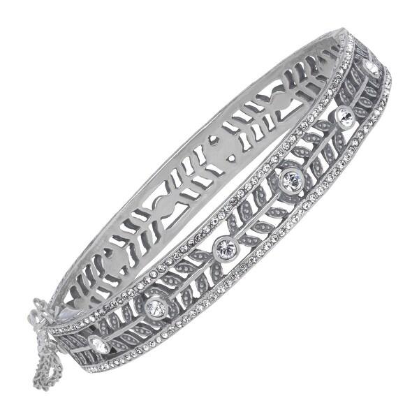 Van Kempen Art Nouveau Bangle Bracelet with White Swarovski Crystals in Sterling Silver