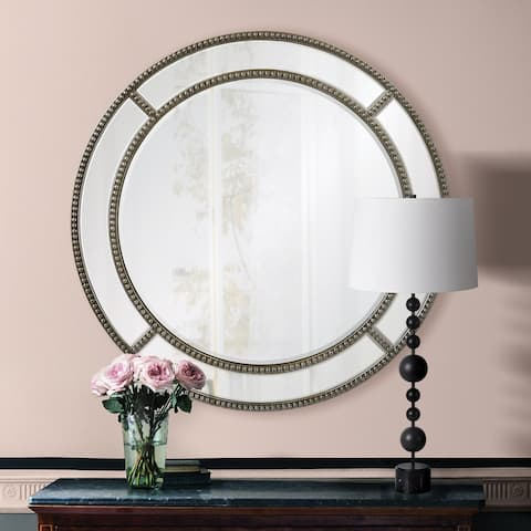 Renwil Derain Beveled Round Beaded Frame Wall Mirror - Silver - Large