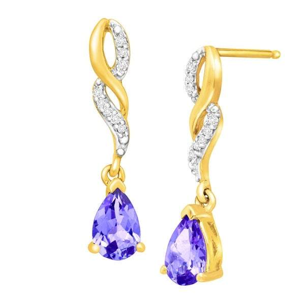 3/8 ct Natural Tanzanite Drop Earrings with Diamonds in 10K Gold - Purple