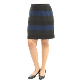 Womens Black Striped Above The Knee Pencil Wear To Work Skirt Petites Size 10