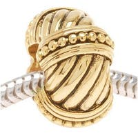 22K Gold Plated Beaded Cable Rope Bead - European Style Large Hole (1)