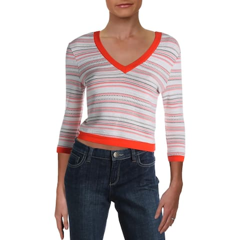 Willow & Clay Womens Pullover Sweater Knit Jacquard - Coral - S