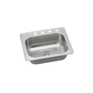 """Proflo PFSR252263 25"""" Single Basin Drop In Stainless Steel Kitchen Sink with 3 Faucet Holes"""