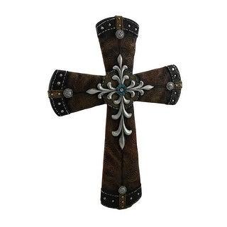 Superbe Brown Embossed Leather Look Western Wall Cross