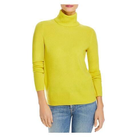 AQUA Womens Yellow Cashmere Long Sleeve Turtle Neck Sweater Size S