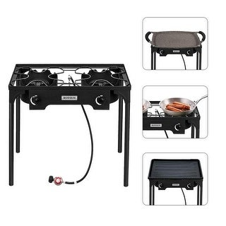 """Link to 5.51"""" Head 75000-225000 BTU Outdoor Camp Stove Portable High Pressure Propane Gas Cooker/1.2M Leather Hose - Black Similar Items in Camping & Hiking Gear"""