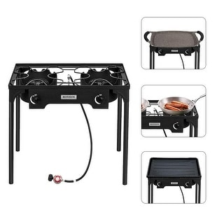 "Link to 5.51"" Head 75000-225000 BTU Outdoor Camp Stove Portable High Pressure Propane Gas Cooker/1.2M Leather Hose - Black Similar Items in Grills & Outdoor Cooking"