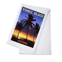 Venice Beach, CA - Palms & Sunset - LP Artwork (100% Cotton Towel Absorbent)