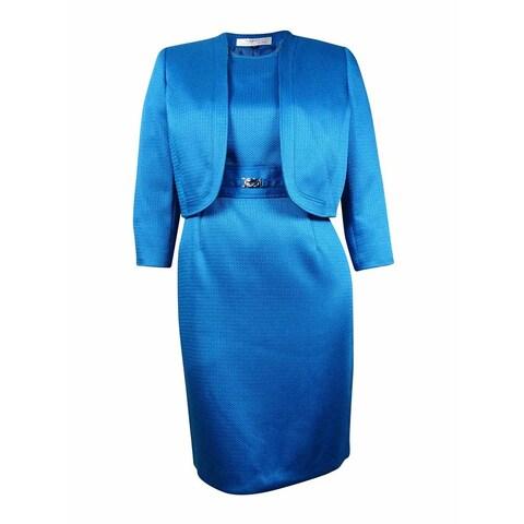 Tahari Women's Open Sheath Hopsack Woven Dress Suit - Azure Blue