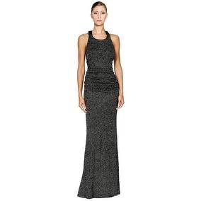 Calvin Klein Glitter Halter Open Back Evening Gown Dress Black 4