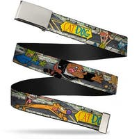 Blank Chrome  Buckle Catdog Characters Running Webbing Web Belt
