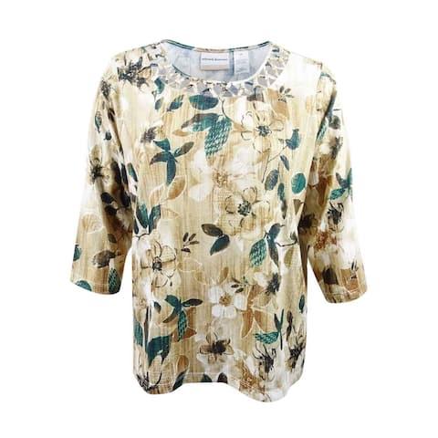 0107258453d Alfred Dunner Women s Plus Size Floral-Print Lattice-Neck Top (2X