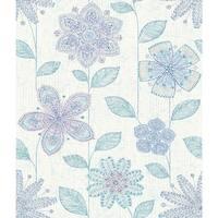 Brewster 1014-001812 Maisie Indigo Batik Flower Wallpaper - maisie indigo batik