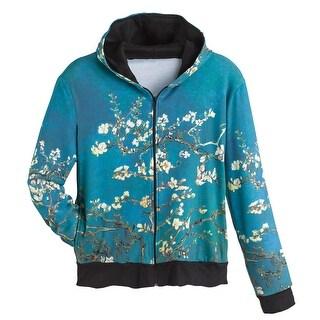 Women's Fine Art Front Zip-Up Hoodie Sweatshirt - Almond Blossoms