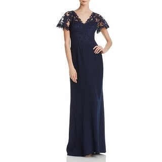 Link to Tadashi Shoji Womens Evening Dress Lace Trumpet - Navy Similar Items in Dresses