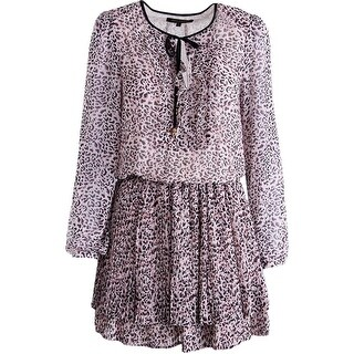 Juicy Couture Black Label Womens Empress Leopard Chiffon Casual Dress
