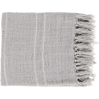 """Heather Gray and Ivory White Woven and Fringed Throw Blanket 50"""" x 60"""""""