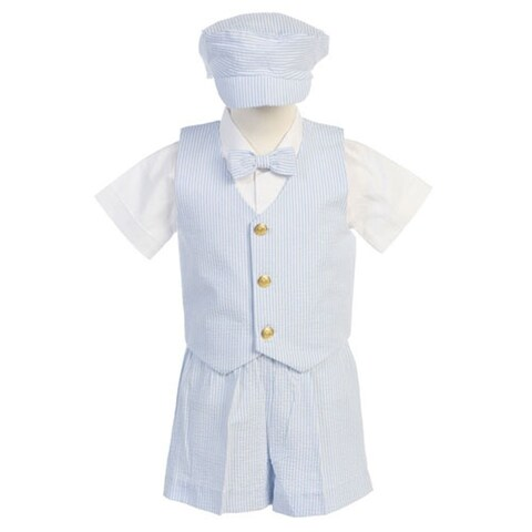 Boys Blue Vest Shorts Easter Ring Bearer Formal Suit 12M-4T