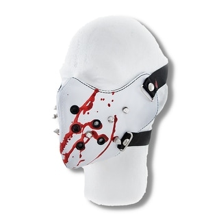 Creepy White Vinyl Spiked Half Face Mask Facemask Blood Spatter