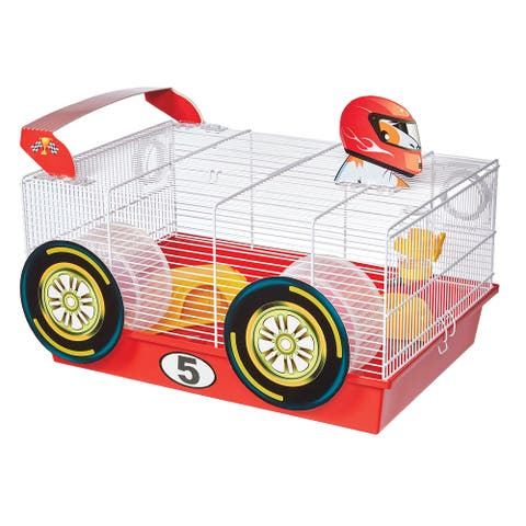 """Midwest Critterville Race Car Hamster Home 19.5"""" x 13.8"""" x 9.8"""" - White, Red - 19.5"""" x 13.8"""" x 9.8"""""""