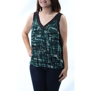 ANNE KLEIN Womens Green Printed Sleeveless V Neck Tunic Top Size: 4
