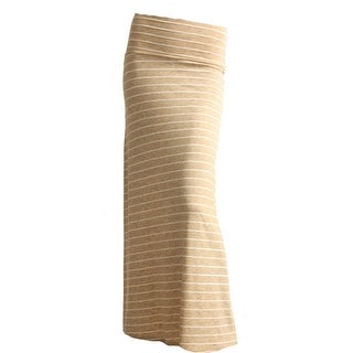 Gravity Threads Stripe Women's Rayon Span Maxi Skirt, Beige Stripe S