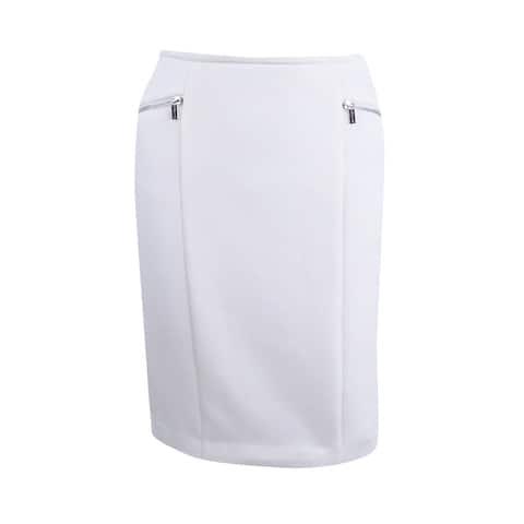 Calvin Klein Women's Petite Zip Detail Scuba Skirt (4P, Cream) - CREAM - 4P