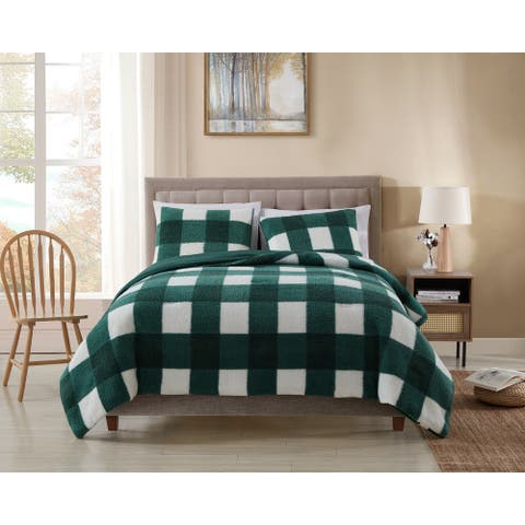 Asher Home Plaid Sherpa Comforter Set
