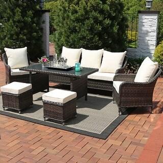 Sunnydaze Veria 6-Piece Wicker Rattan Sofa Dining Patio Furniture Set