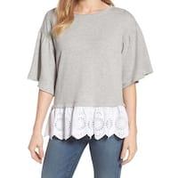 Caslon Layered-Look Women's Small Crewneck Sweater