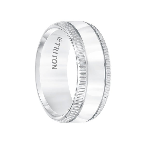 White Tungsten Polished Center Men's Wedding Band with Coin Edge Sides by Triton Rings - 9mm