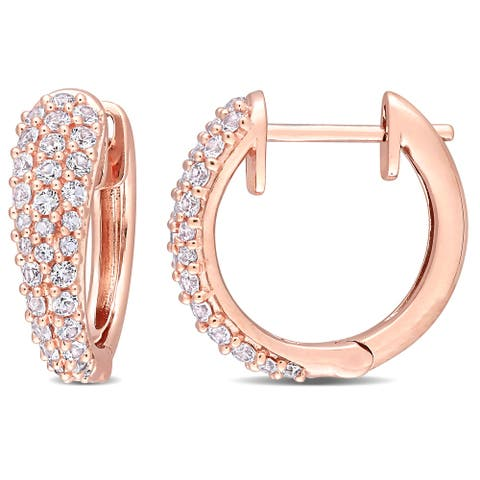 Miadora 10k Rose Gold White Sapphire Multi-Row Cluster Hoop Earrings - 17 mm x 5.1 mm x 17.7 mm - 17 mm x 5.1 mm x 17.7 mm